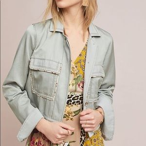 Anthropologie Piped Trucker Jacket Size M